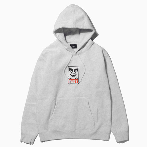 오베이 후드티 OBEY ICON FACE HOOD-ASH GREY