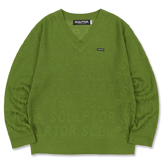 스컬프터 니트 LOGO V-NECK KNIT SWEATER-GREENERY